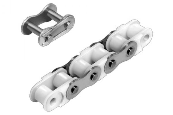 Einfach-Rollenkette aus Kunststoff mit Edelstahl-Aussengliedern