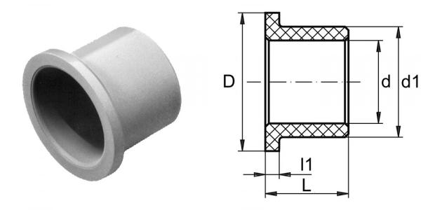 Gleitlagerbuchse aus Polyamid mit Bund einbaufertig