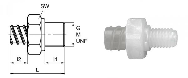 Luer-Lock-Adapter weiblich mit Aussengewinde