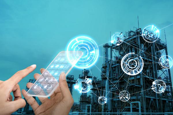 Futuristisches Smartphone und drahtloses Kommunikationsnetz