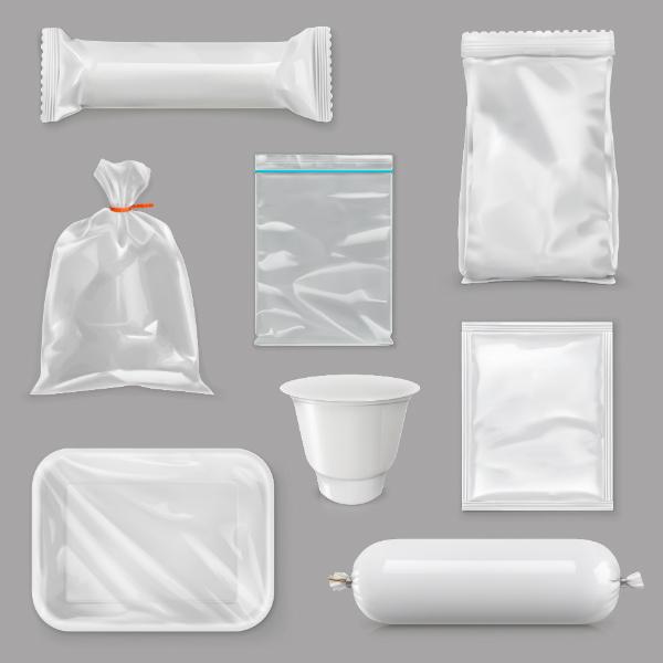 Lebensmittelverpackungen fuer verschiedene Snackprodukte