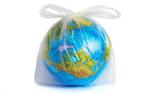 Globus im Einwegbeutel aus Polyethylen