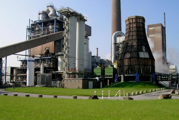 Kraftwerk mit zirkulierendem Wirbelbett in dem Kunststoffabfaelle mitverbrannt werden
