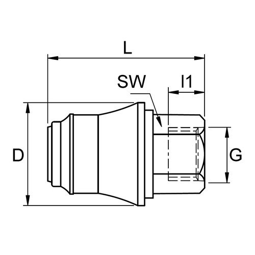 PVDF-Schnellverschlusskupplung, NW 7 mm