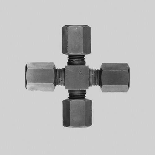 Cross Pipe Connector made of PP, PVDF or PTFE
