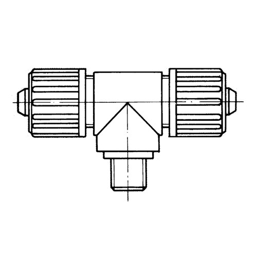 T-Shaped Connector with Male Thread made of PP or PVDF for Fabric Reinforced Tubing