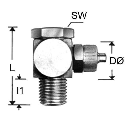 Winkel-Verbinder mit Außengewinde aus Messing