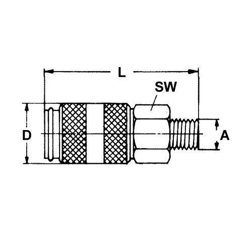 Quick-Disconnect Coupling made of Nickel-Plated Brass, NW 5 mm - shutting-off on one side