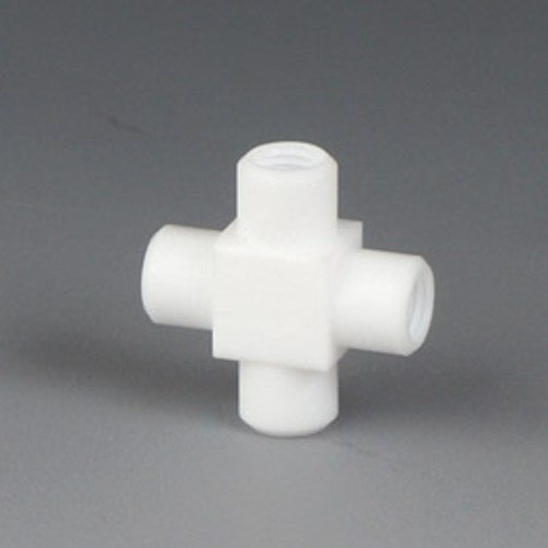 Cross Connector with Female Thread made of PTFE