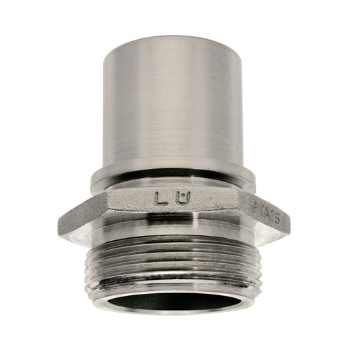 lndustrial Threaded Tubing Connector made of Stainless Steel with External Thread for Clamp Attachment