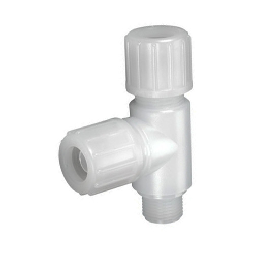 High-Pure T-Shaped Connector with Male Thread made of PFA - asymmetrical
