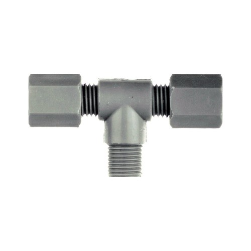 T-Shaped Pipe Connector with Male Thread made of PP, PVDF or PTFE