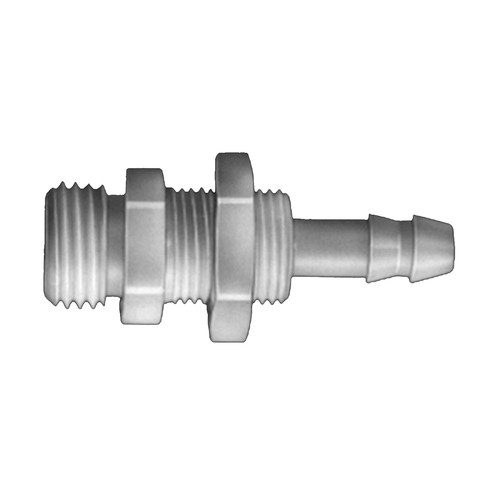 Straight Barb Connector with Male Thread made of PVDF - Bulkhead