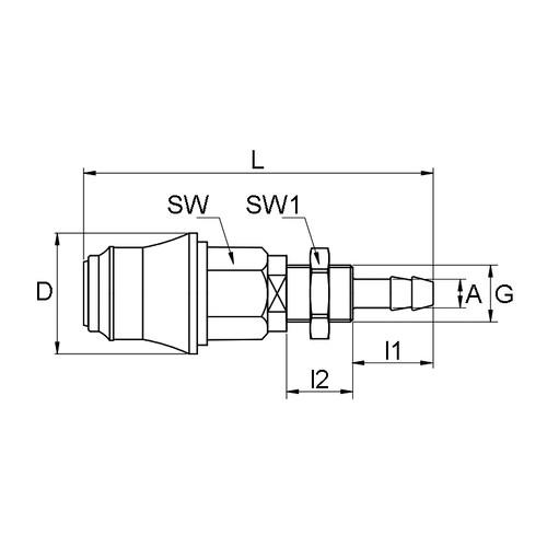 POM-Schnellverschlusskupplung, NW 5 mm - Schalttafel