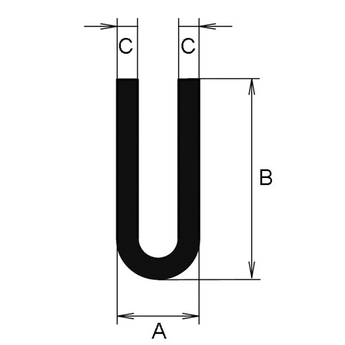 U-Profile made of EPDM - with round shoulder