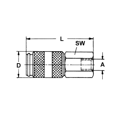 Quick-Disconnect Coupling made of Nickel-Plated Brass, NW 2.7 mm - shutting-off on one side