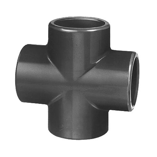 Kreuz-Verbinder mit Klebemuffe aus PVC-U