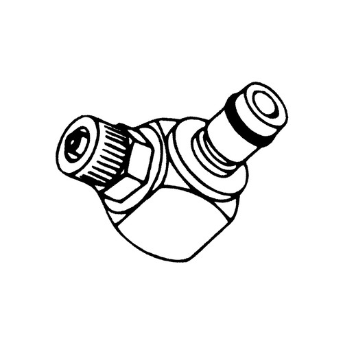 Winkel-Schnellverschluss-Stecker aus Messing-verchromt, NW 6,4 mm