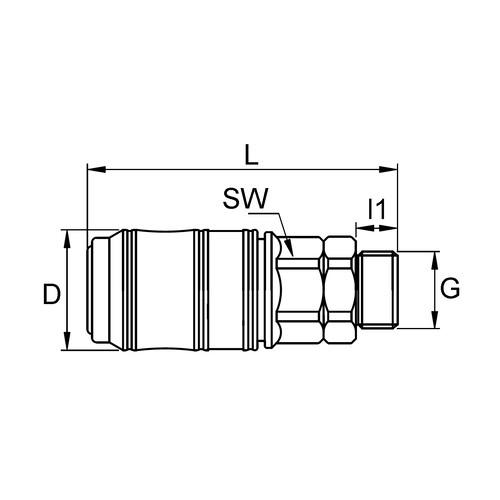 POM-Schnellverschlusskupplung, NW 7 mm