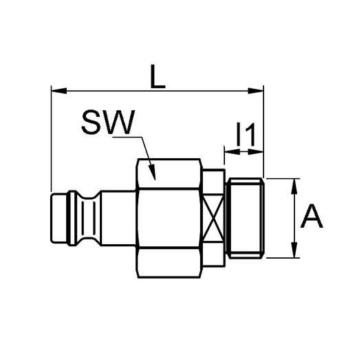 PVDF-Schnellverschluss-Stecker, NW 5 mm