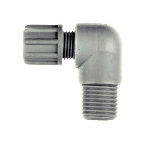 Winkel-Verbinder mit Außengewinde aus PP oder PVDF - kurz