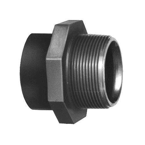 Straight Connector with Bonded Socket Joint and Male Thread made of PVC-U