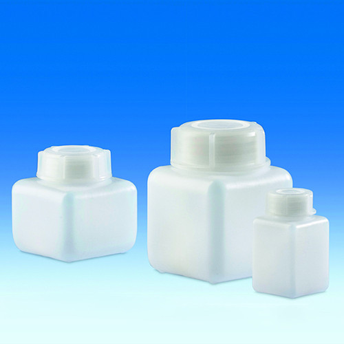 Wide-Mouth Bottle made of HDPE - square, translucent