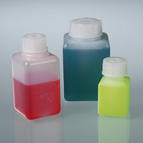 Weithalsflasche aus HDPE - quadratisch, auslaufsicher