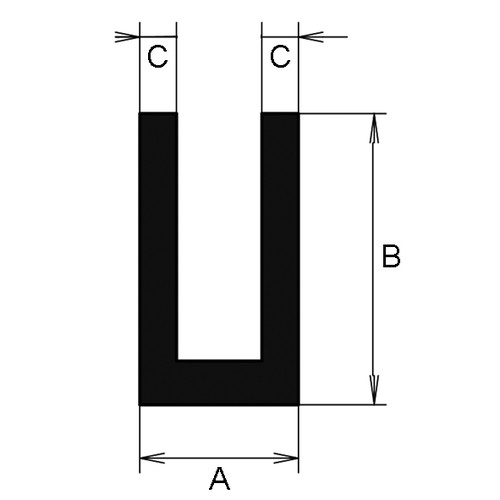 U-Profile made of EPDM - with angled shoulder