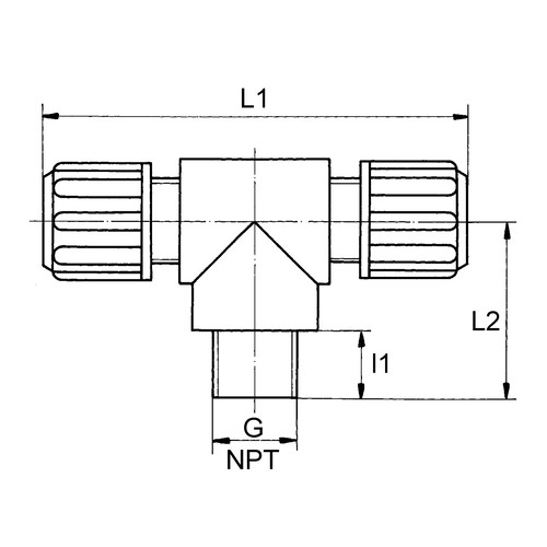 Micro T-Shaped Connector with Male Thread made of PVDF