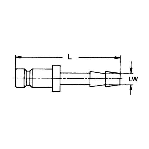 Schnellverschluss-Stecker aus Messing-vernickelt, NW 7,4 mm - zweiseitig absperrend