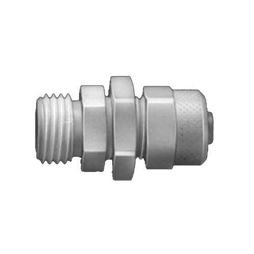 Straight Connector with Male Thread made of PVDF - Bulkhead