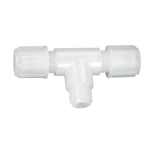 Micro T-Shaped Connector with Male Thread made of PTFE