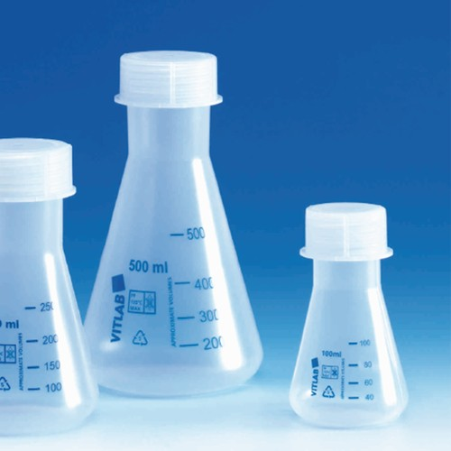 Erlenmeyer Flask made of PP - with screw cap, light