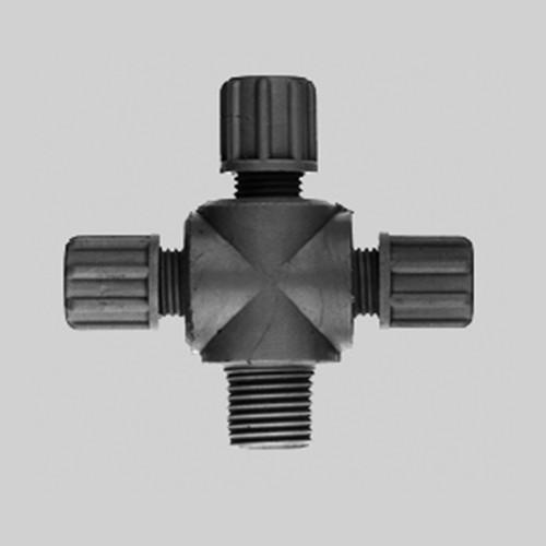 Kreuz-Verbinder mit Außengewinde aus PP oder PVDF