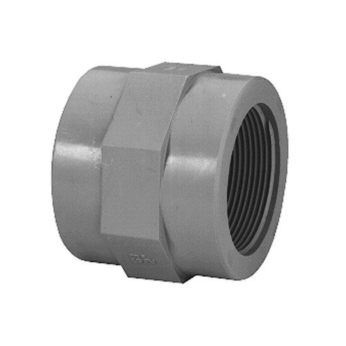 Straight Connector with Welding Sleeve and Female Thread made of PVDF