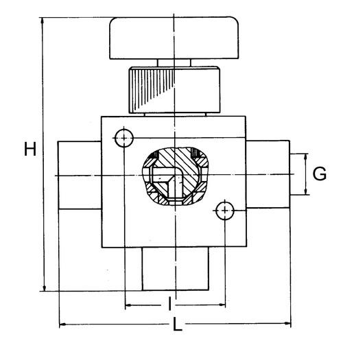 Mehrweg-Kugelhahn aus PTFE - Blockbauweise